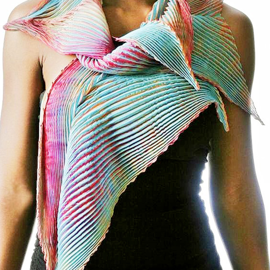 Pecorari foulard plissettato